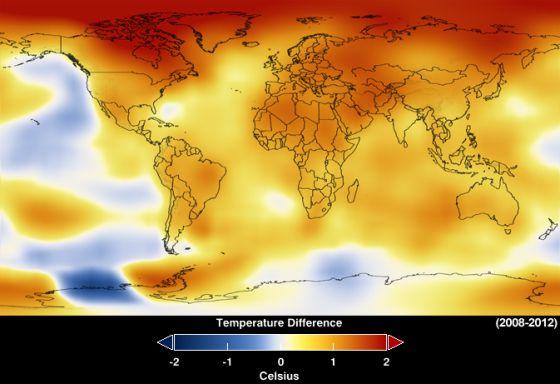 Calentamiento global. Fuente Nasa